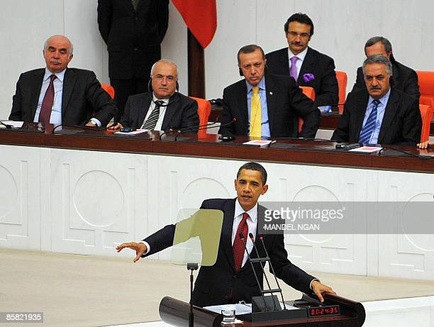 US President Barack Obama addresses Turkey's Parliament in Ankara on April 6 2009 Obama's visit on the last leg of an eightday trip that marks his...