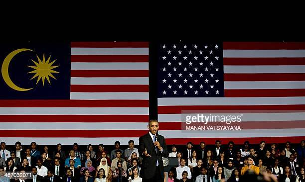 US President Barack Obama addresses young student leaders at the Young Southeast Asian Leadership Initiative Town Hall during a visit to University...