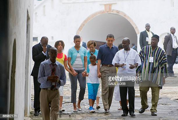 US President Barack Obama alongside First Lady Michelle Obama and daughters Sasha and Malia tour Cape Coast Castle in Cape Coast Ghana on July 11...
