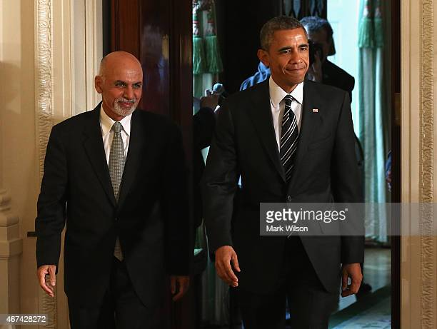 President Barack Obama and Afghan President Ashram Ghani in the East Room before a news conference at the White House on March 24, 2015 in...
