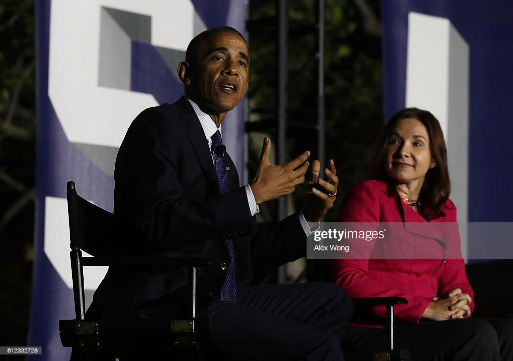 U.S. President Barack Obama (L) and atmospheric scientist Katharine Hayhoe (R) participate in a conversation during the South by South Lawn, a White House festival of ideas, art, and action, October 3, 2016 at the South Lawn of the White House in Washington, DC. The White House hosts the event to call on Americans 'to discover their own way to make a positive difference in our country.'