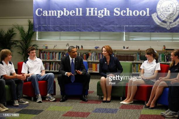 S President Barack Obama and Australian Prime Minister Julia Gillard speak to students of Campbell High School on the second day of his 2day visit to...