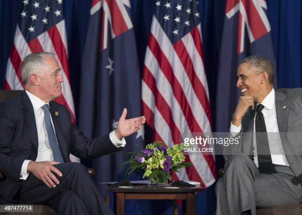 US President Barack Obama and Australia's Prime Minister Malcolm Turnbull speak during their bilateral meeting on the sidelines of the AsiaPacific...