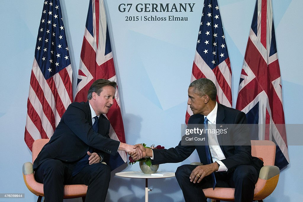 S. President Barack Obama (R) and Britain's Prime Minister David Cameron shake hands during a bilateral meeting at the summit of G7 nations at Schloss Elmau on June 7, 2015 near Garmisch-Partenkirchen, Germany. In the course of the two-day summit G7 leaders are scheduled to discuss global economic and security issues, as well as pressing global health-related issues, including antibiotics-resistant bacteria and Ebola. Several thousand protesters have announced they will seek to march towards Schloss Elmau and at least 17,000 police are on hand to provide security.