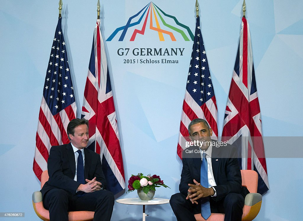 S. President Barack Obama (R) and Britain's Prime Minister David Cameron attend a bilateral meeting at the summit of G7 nations at Schloss Elmau on June 7, 2015 near Garmisch-Partenkirchen, Germany. In the course of the two-day summit G7 leaders are scheduled to discuss global economic and security issues, as well as pressing global health-related issues, including antibiotics-resistant bacteria and Ebola. Several thousand protesters have announced they will seek to march towards Schloss Elmau and at least 17,000 police are on hand to provide security.