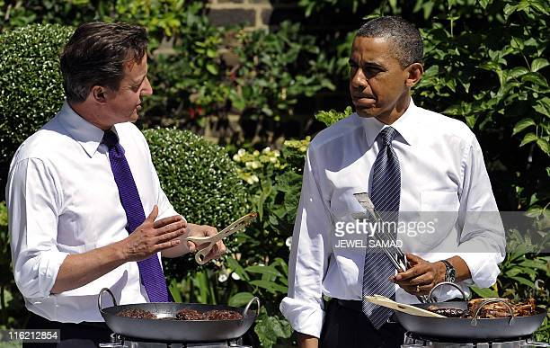 President Barack Obama and Britain's Prime Minister David Cameron chat as they serve BBQ to military personel during an event hosted by Samantha...