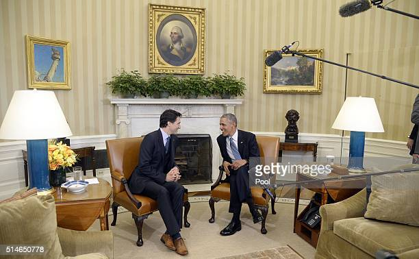 President Barack Obama and Canadian Prime Minister Justin Trudeau hold a bilateral meeting in the Oval Office of the White House March 10 2016 in...