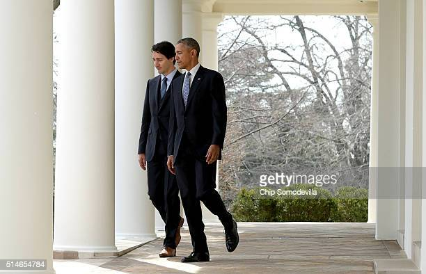 S President Barack Obama and Canadian Prime Minister Justin Trudeau walk from the Oval Office to a joint press conference in the Rose Garden of the...