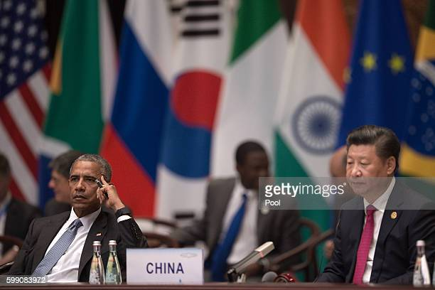 President Barack Obama and Chinese President Xi Jinping are seen during the opening ceremony of the G20 Leaders Summit on September 4 2016 in...