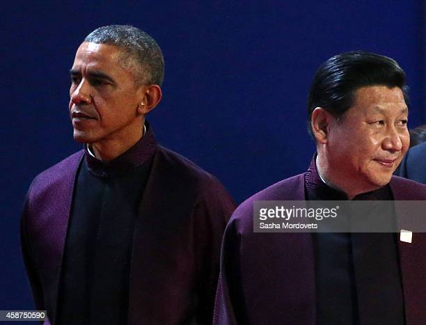 S President Barack Obama and Chinese President Xi Jinping attend the APEC Leaders meeting on November 10 2014 in Beijing China The APEC Summit hosted...