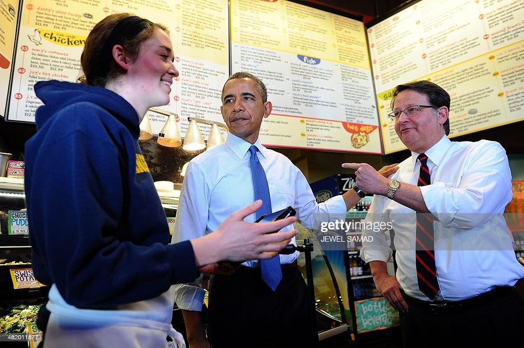 Us President Barack Obama C And Congressman Gary Peters Order