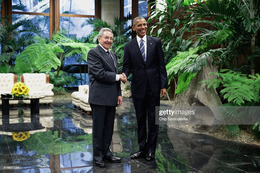 U.S. President Barack Obama (R) and Cuban President Raul Castro greet one another before bilateral meetings at the Palace of the Revolution March 21, 2016 in Havana, Cuba. These are the first direct talks between Castro and Obama, the first sitting U.S. president to visit Cuba in 88 years.