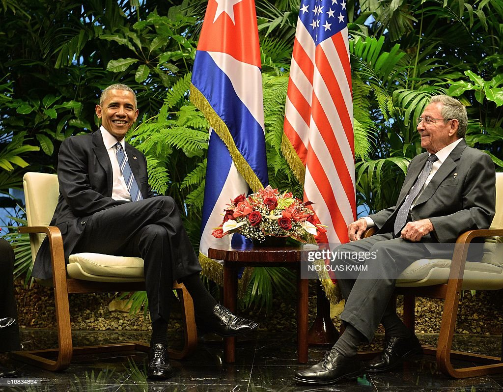 US President Barack Obama (L) and Cuban President Raul Castro meet at the Revolution Palace in Havana on March 21, 2016. US President Barack Obama and his Cuban counterpart Raul Castro met Monday in Havana's Palace of the Revolution for groundbreaking talks on ending the standoff between the two neighbors.