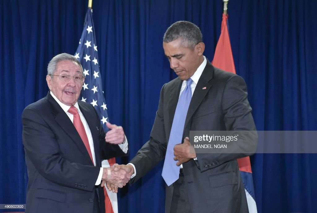 US President Barack Obama and Cuba's President Raul Castro shake hands at a bilateral meeting on the sidelines of the United Nations General Assembly at UN headquarters in New York on September 29, 2015.