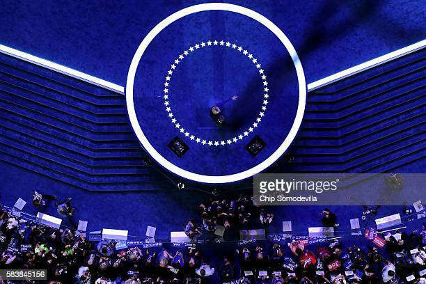 President Barack Obama and Democratic presidential nominee Hillary Clinton acknowledge the crowd on the third day of the Democratic National...