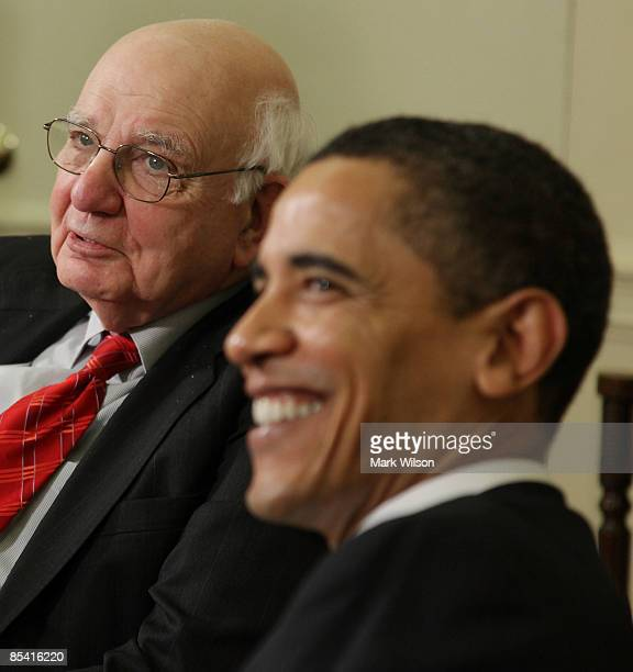 S President Barack Obama and Economic Recovery Advisory Board Chairman Paul Volcker meet in the Oval Office at the White House on March 13 2009 in...