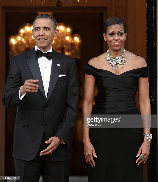 S President Barack Obama and First Lady Michelle Obama arrive at Winfield House the residence of the Ambassador of the United States of America in...