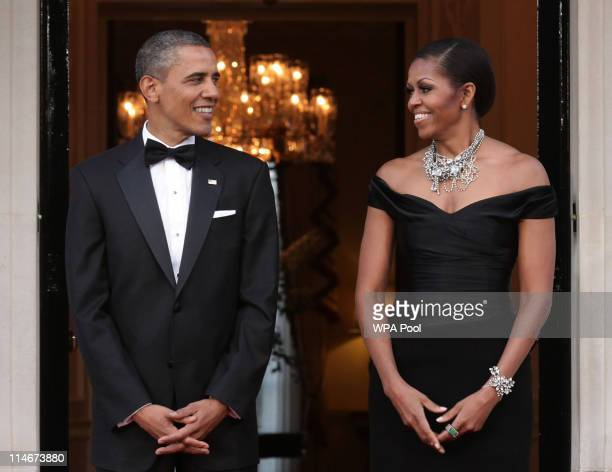 President Barack Obama and First Lady Michelle Obama arrive at Winfield House, the residence of the Ambassador of the United States of America, in...