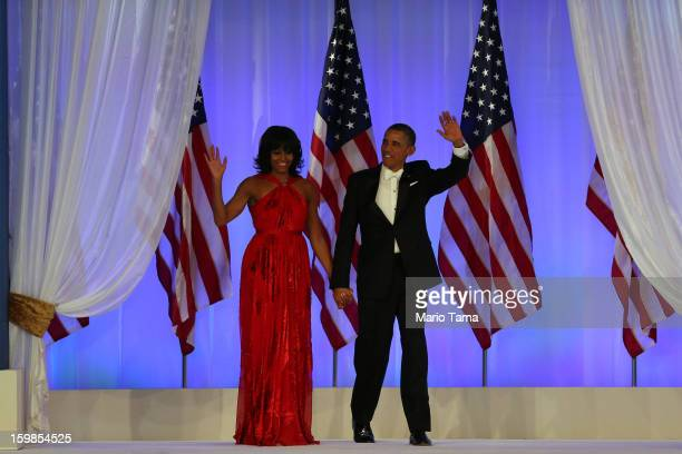 President Barack Obama and first lady Michelle Obama arrive at the Inaugural Ball at the Walter E. Washington Convention Center on January 21, 2013...