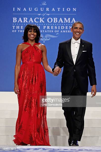 S President Barack Obama and first lady Michelle Obama arrive for the ComanderinChief's Inaugural Ball at the Walter Washington Convention Center...