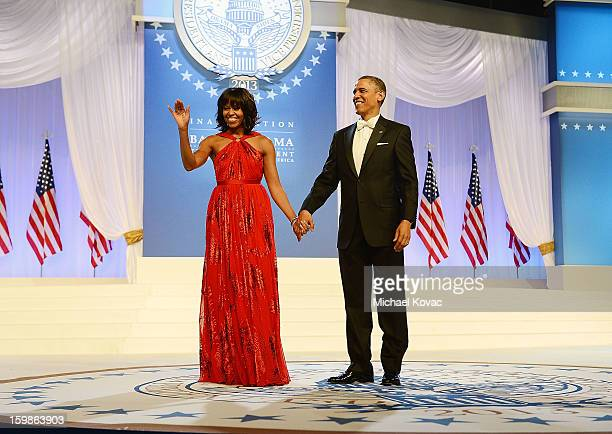 President Barack Obama and first lady Michelle Obama arrive together for The Inaugural Ball at the Walter E. Washington Convention Center on January...