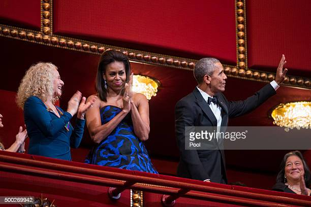 US President Barack Obama and first lady Michelle Obama attend the Kennedy Center Honors at the Kennedy Center December 6 2015 in Washington DC The...