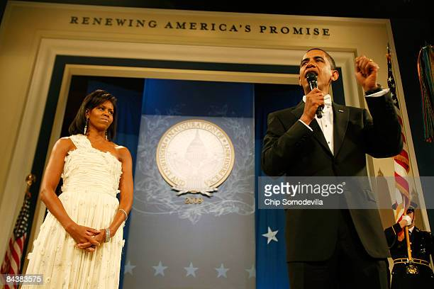 S President Barack Obama and First Lady Michelle Obama attend the Biden Home States Ball at the Washington Convention Center on January 20 2009 in...