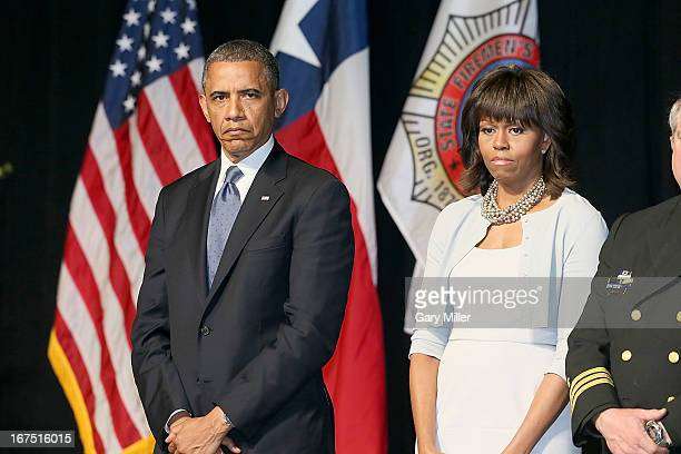 President Barack Obama and First Lady Michelle Obama attend the memorial service for the victims of the West Texas fertilizer plant explosion at...