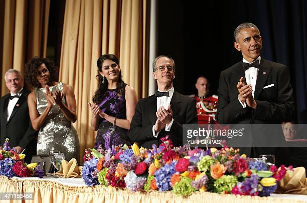 US President Barack Obama and First Lady Michelle Obama attend the White House Correspondents' Association Dinner in Washington DC on April 25 2015...