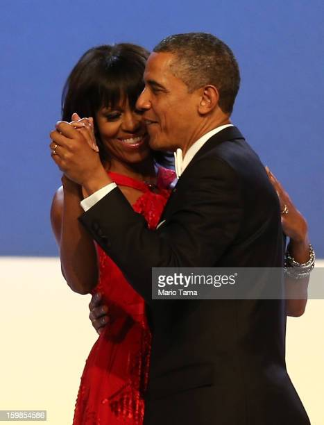 President Barack Obama and first lady Michelle Obama dance during the Inaugural Ball at the Walter E. Washington Convention Center on January 21,...