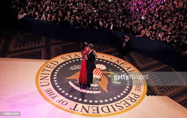 President Barack Obama and first lady Michelle Obama dance together at the CommanderinChief's Inaugural Ball at the Washington Convention Center...