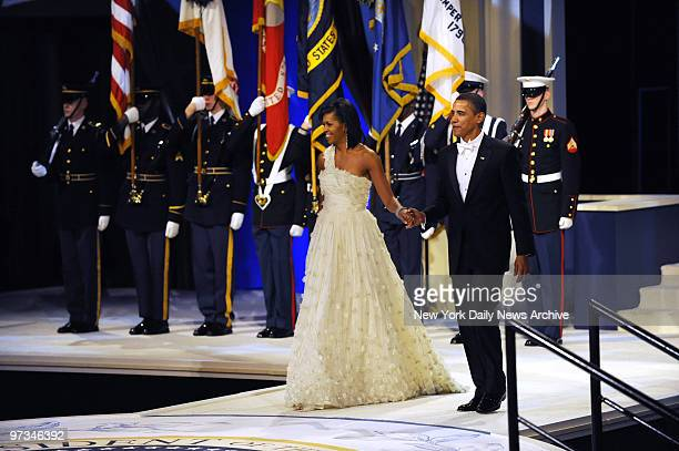 President Barack Obama and First Lady Michelle Obama dancing together at The Commander in Chief Ball at National Museum Building