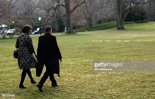 S President Barack Obama and first lady Michelle Obama depart the White House January 12 2010 in Washington DC President Obama and first lady...