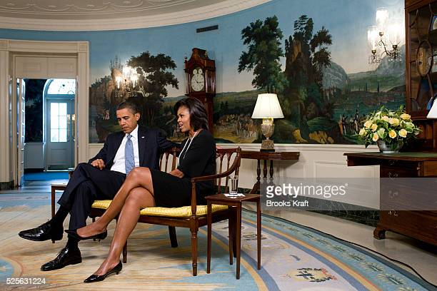 President Barack Obama and First Lady Michelle Obama during an interview with Time Managing Editor Rick Stengel at the White House in Washington
