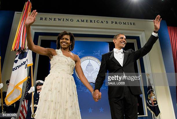 US President Barack Obama and First Lady Michelle Obama during the Obama Home States Inaugural Ball at the Washington Convention Center in Washington...