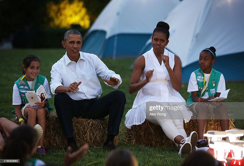 President, First Lady Host Girls Scouts At First-Ever White House Campout : ニュース写真