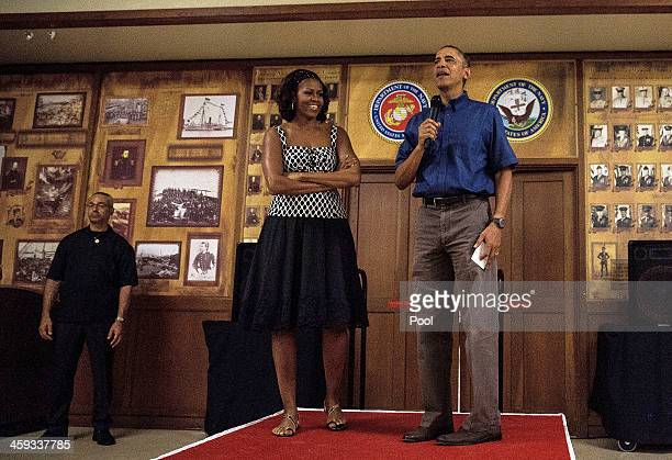 US President Barack Obama and first lady Michelle Obama make their annual trip to speak with current and retired members of the US military and their...
