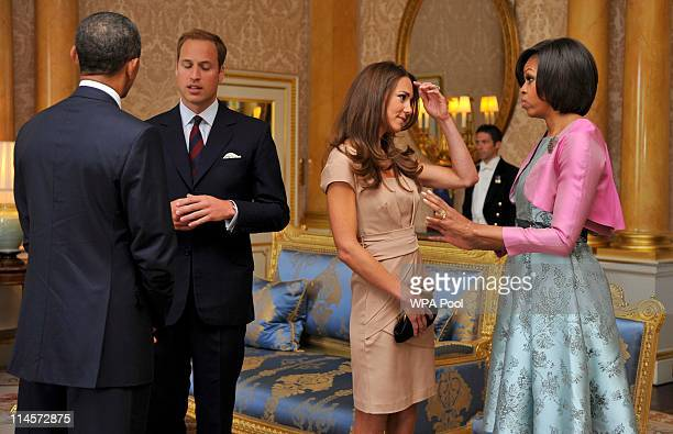 President Barack Obama and First Lady Michelle Obama meet with Prince William, Duke of Cambridge and Catherine, Duchess of Cambridge at Buckingham...