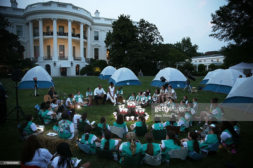 President, First Lady Host Girls Scouts At First-Ever White House Campout : News Photo