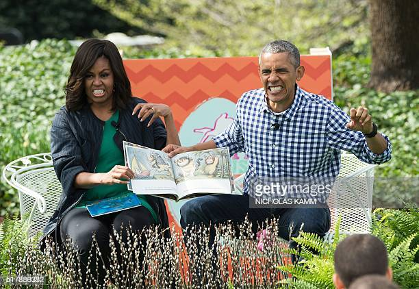 US President Barack Obama and First Lady Michelle Obama read Maurice Sendak's 'Where the Wild Things Are' to children at the annual Easter Egg Roll...