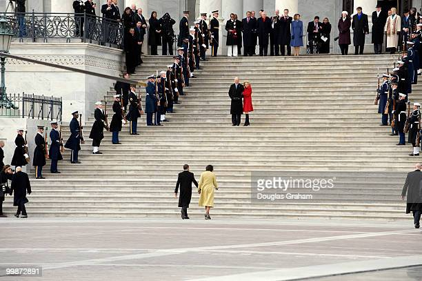 President Barack Obama and First lady Michelle Obama return to the US Capitol after waving good bye to former President George W Bush and former...
