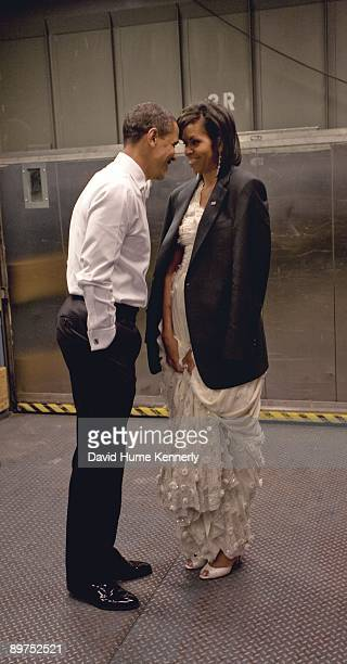 President Barack Obama and First Lady Michelle Obama stand in a freight elevator prior to their grand entrance for the Neighborhood Inaugural Ball...