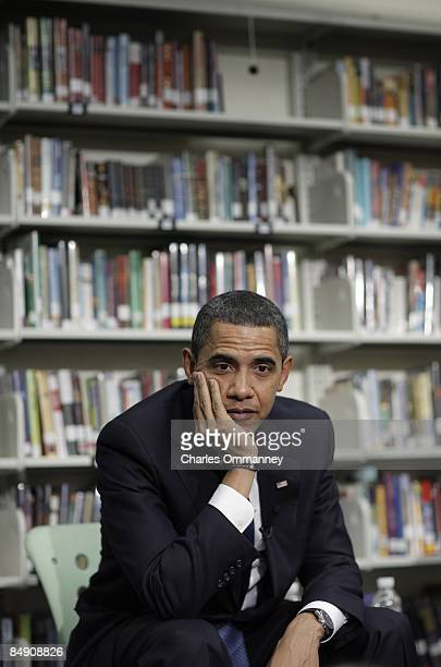 President Barack Obama and First Lady Michelle Obama take questions from 2nd graders at the Capital City Public Charter School in Washington DC...