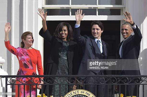 US President Barack Obama and First Lady Michelle Obama welcome Canada's Prime Minister Justin Trudeau and Canadian First Lady Sophie GregoireTrudeau...