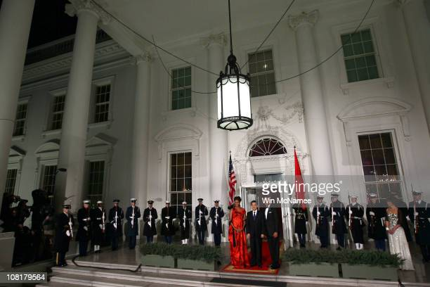 President Barack Obama and first lady Michelle Obama welcome Chinese President Hu Jintao for a State dinner at the White House January 19, 2011 in...