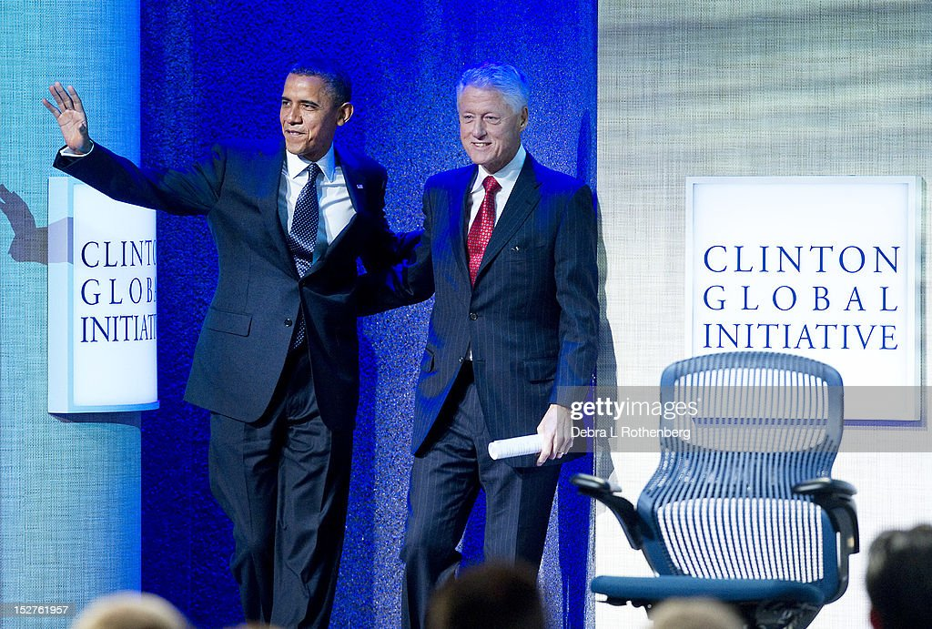 President Barack Obama and Former President Bill Clinton attend the Clinton Global Initiative 2012 at the New York Sheraton Hotel & Tower on September 25, 2012 in New York City.