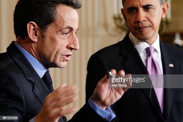 S President Barack Obama and French President Nicolas Sarkozy hold a joint press conference in the East Room of the White House March 30 2010 in...