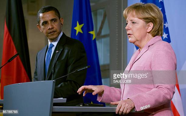 US President Barack Obama and German Chancellor Angela Merkel hold a press conference at the City Hall in BadenBaden on April 3 on the first day of...
