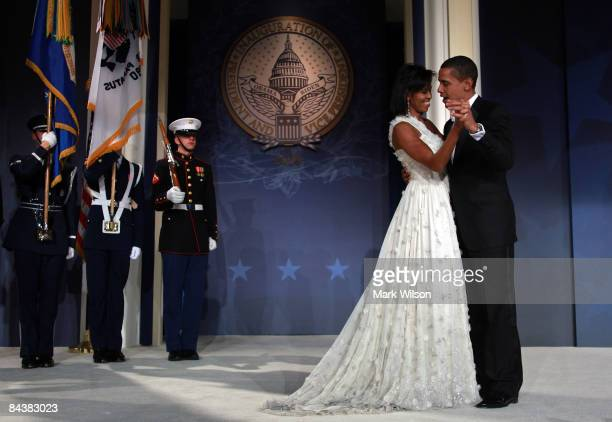 President Barack Obama and his wife First Lady Michelle Obama dance on stage during MTV & ServiceNation: Live From The Youth Inaugural Ball at the...