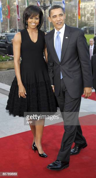 US President Barack Obama and his wife Michelle arrive at City hall in BadenBaden on April 3 2009 The NATO summit which marks the organisation's 60th...